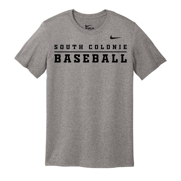 Carbon Heather South Colonie Baseball Nike Legend Tee