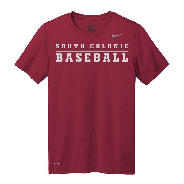 Deep Maroon South Colonie Baseball Nike Legend Tee