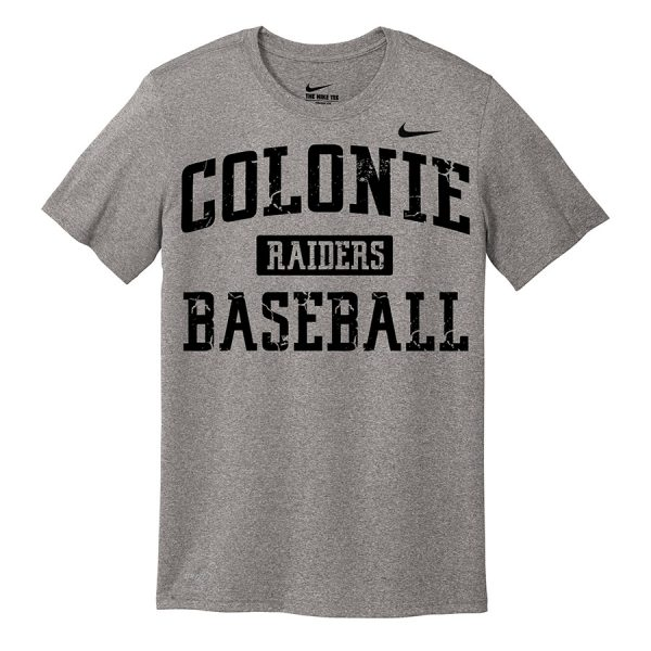 Carbon Heather Colonie Raiders Baseball Youth Nike Legend Tee