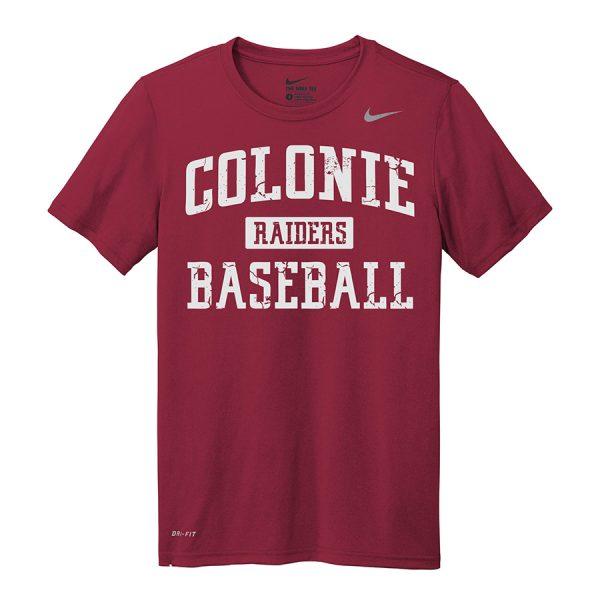 Deep Maroon Colonie Raiders Baseball Youth Nike Legend Tee