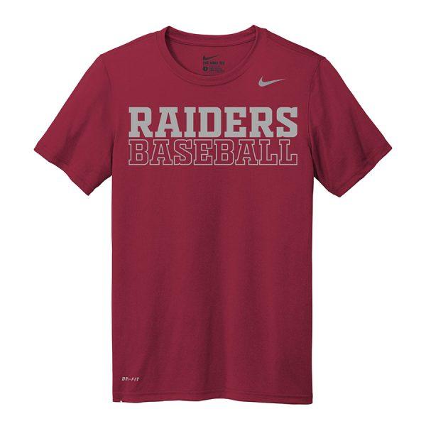 Deep Maroon Raiders Baseball Youth Nike Legend Tee