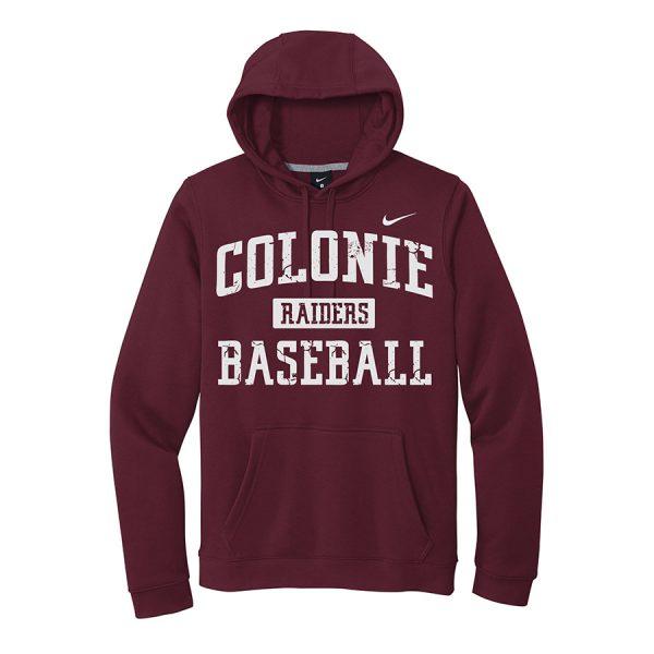 Dark Maroon Colonie Raiders Baseball Club Fleece Pullover Hoodie