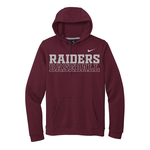 Dark Maroon Raiders Baseball Club Fleece Pullover Hoodie