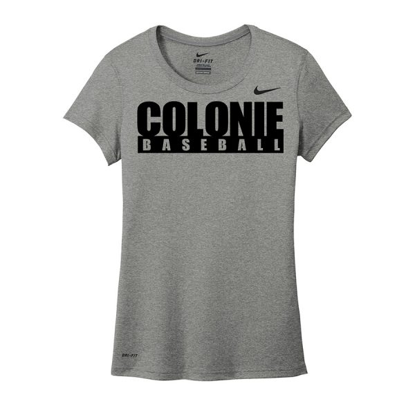 Carbon Heather Colonie Baseball Ladies Nike Legend Tee