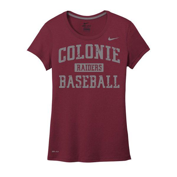 Deep Maroon Colonie Raiders Baseball Ladies Nike Legend Tee