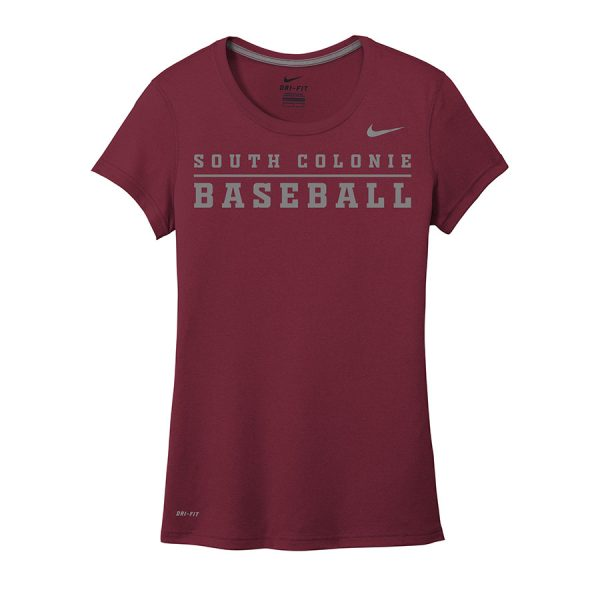 Deep Maroon South Colonie Baseball Ladies Nike Legend Tee