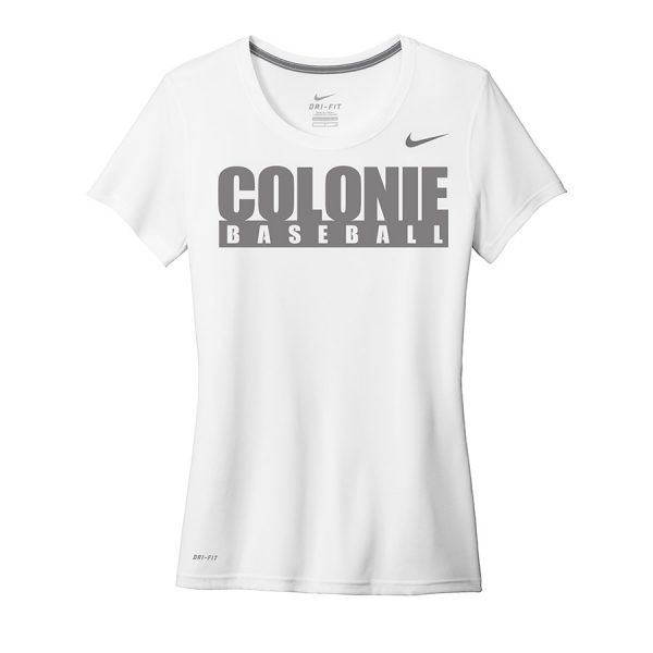 White Colonie Baseball Ladies Nike Legend Tee