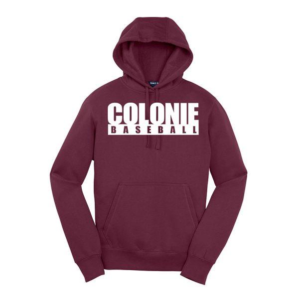 Maroon Colonie Baseball Sport-Tek Pullover Hooded Sweatshirt