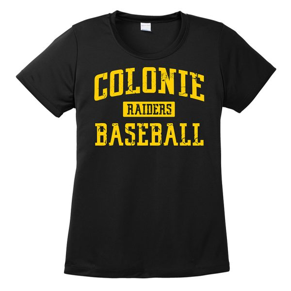 Black Colonie Raiders Baseball Ladies Performance Cooling Tee