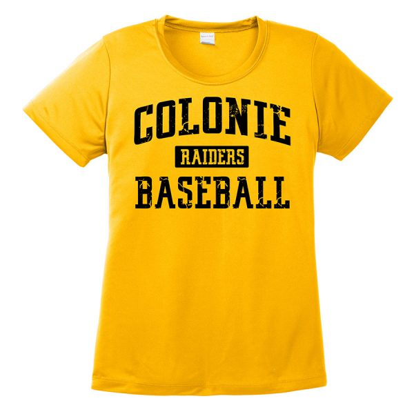 Gold Colonie Raiders Baseball Ladies Performance Cooling Tee