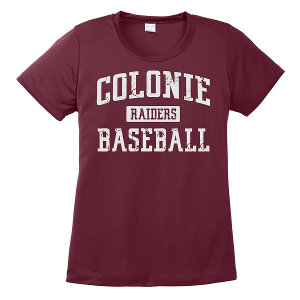 Maroon Colonie Raiders Baseball Ladies Performance Cooling Tee