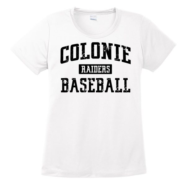 White Colonie Raiders Baseball Ladies Performance Cooling Tee