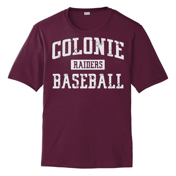 Maroon Colonie Raiders Baseball Performance Cooling Tee