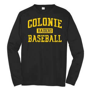 Black Colonie Raiders Baseball Long Sleeve Performance Cooling Tee