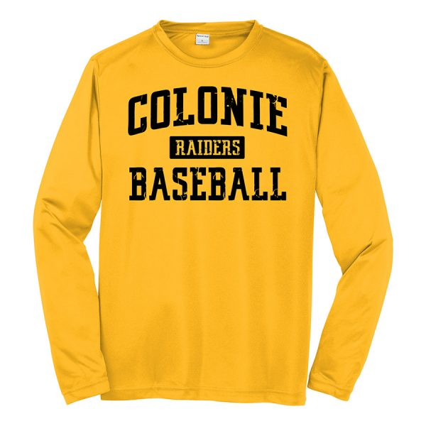 Gold Colonie Raiders Baseball Long Sleeve Performance Cooling Tee