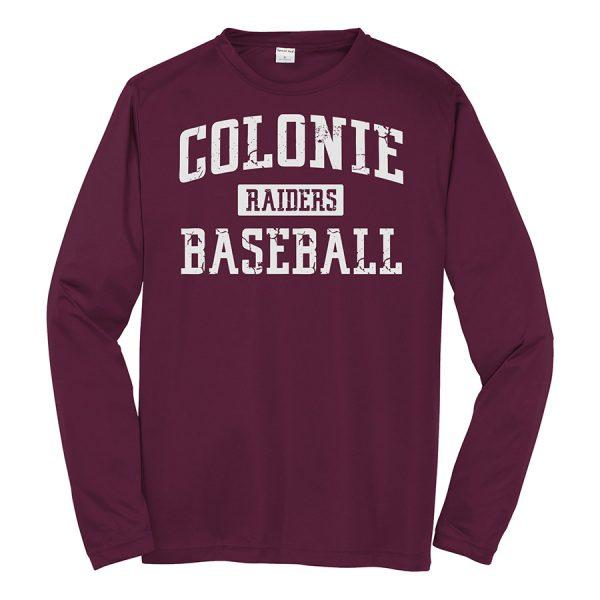 Maroon Colonie Raiders Baseball Long Sleeve Performance Cooling Tee