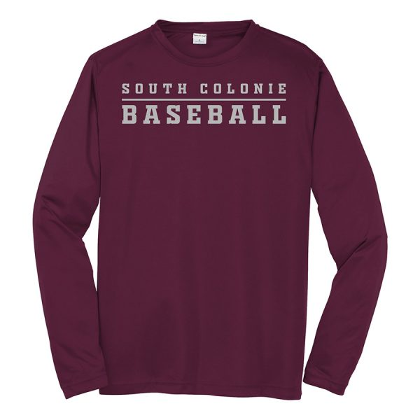 Maroon South Colonie Baseball Long Sleeve Performance Cooling Tee