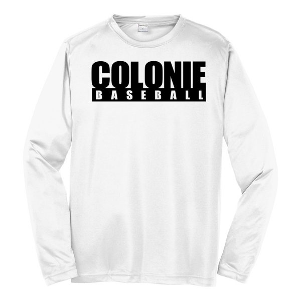 White Colonie Baseball Long Sleeve Performance Cooling Tee