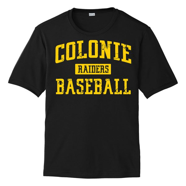 Black Colonie Raiders Baseball Youth Performance Cooling Tee