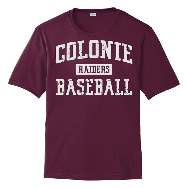 Maroon Colonie Raiders Baseball Youth Performance Cooling Tee