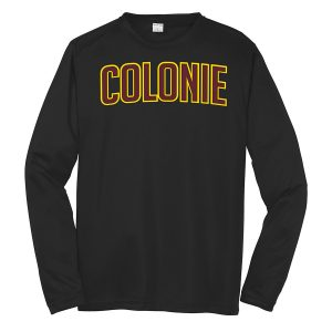 Black Colonie Youth Long Sleeve Performance Cooling Tee