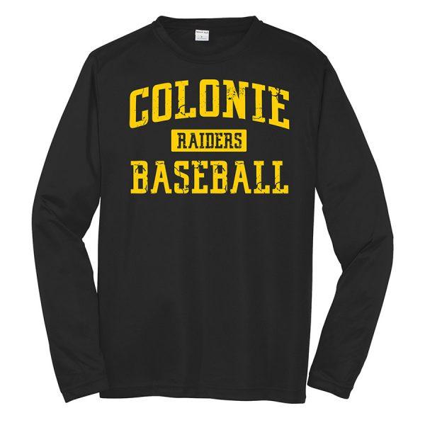 Black Colonie Raiders Baseball Youth Long Sleeve Performance Cooling Tee