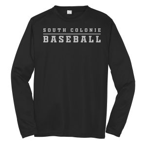 Black South Colonie Baseball Youth Long Sleeve Performance Cooling Tee