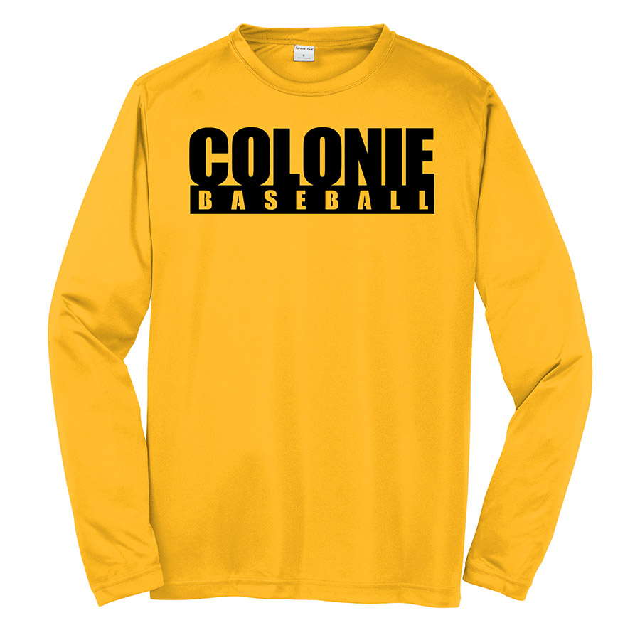 Gold Colonie Baseball Youth Long Sleeve Performance Cooling Tee