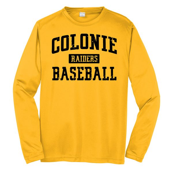 Gold Colonie Raiders Baseball Youth Long Sleeve Performance Cooling Tee