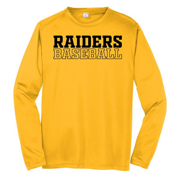 Gold Raiders Baseball Youth Long Sleeve Performance Cooling Tee
