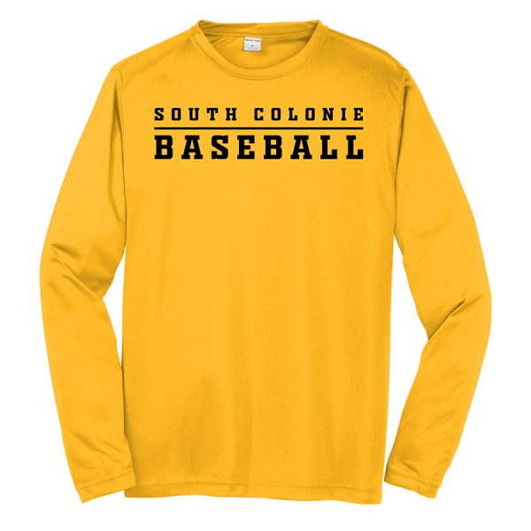 Gold South Colonie Baseball Youth Long Sleeve Performance Cooling Tee