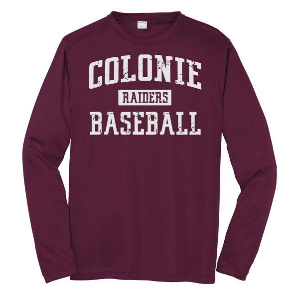 Maroon Colonie Raiders Baseball Youth Long Sleeve Performance Cooling Tee