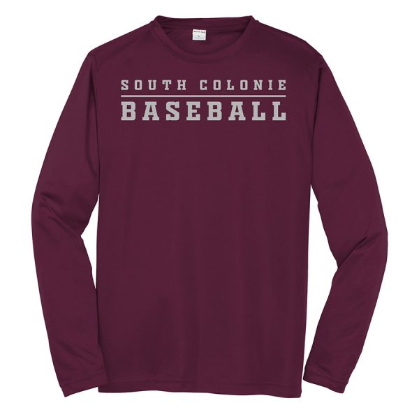 Maroon South Colonie Baseball Youth Long Sleeve Performance Cooling Tee