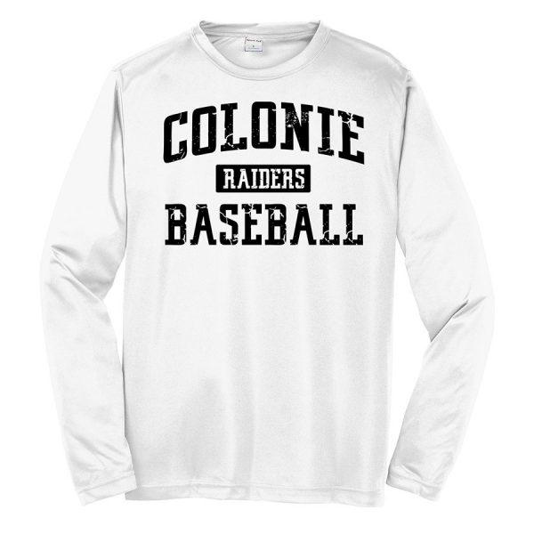 White Colonie Raiders Baseball Youth Long Sleeve Performance Cooling Tee