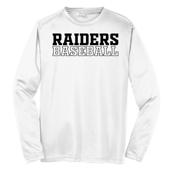 White Raiders Baseball Youth Long Sleeve Performance Cooling Tee