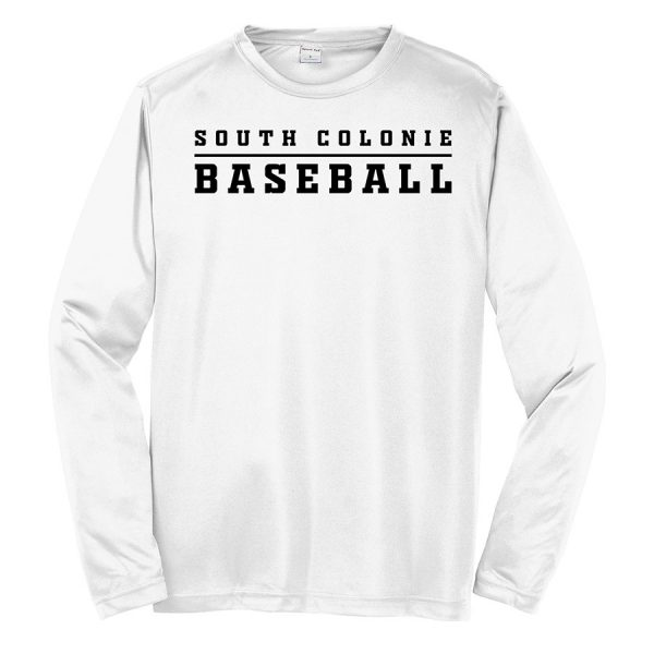 White South Colonie Baseball Youth Long Sleeve Performance Cooling Tee