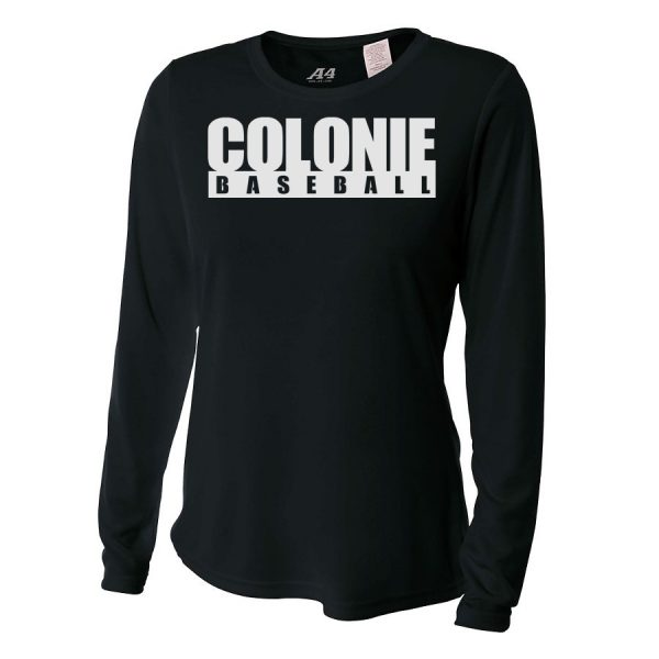 Black Colonie Baseball Ladies Long Sleeve Performance Cooling Tee