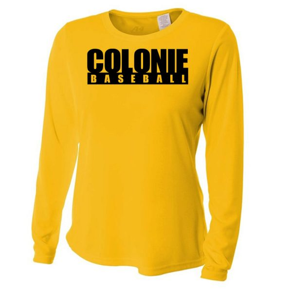 Gold Colonie Baseball Ladies Long Sleeve Performance Cooling Tee