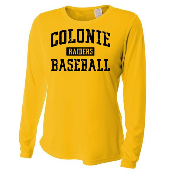 Gold Colonie Raiders Baseball Ladies Long Sleeve Performance Cooling Tee