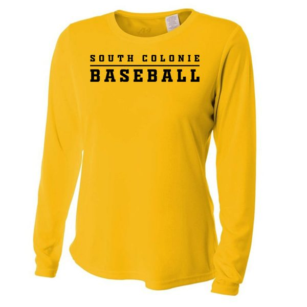 Gold South Colonie Baseball Ladies Long Sleeve Performance Cooling Tee