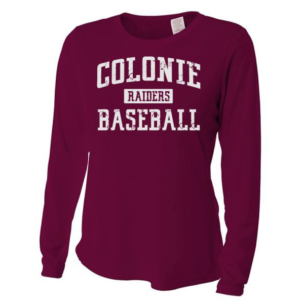 Maroon Colonie Raiders Baseball Ladies Long Sleeve Performance Cooling Tee