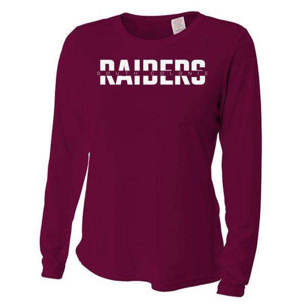 Maroon South Colonie Raiders Ladies Long Sleeve Performance Cooling Tee