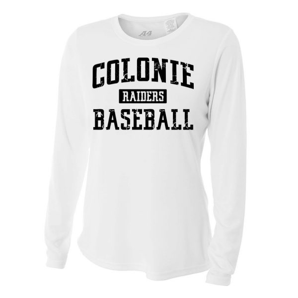 White Colonie Raiders Baseball Ladies Long Sleeve Performance Cooling Tee
