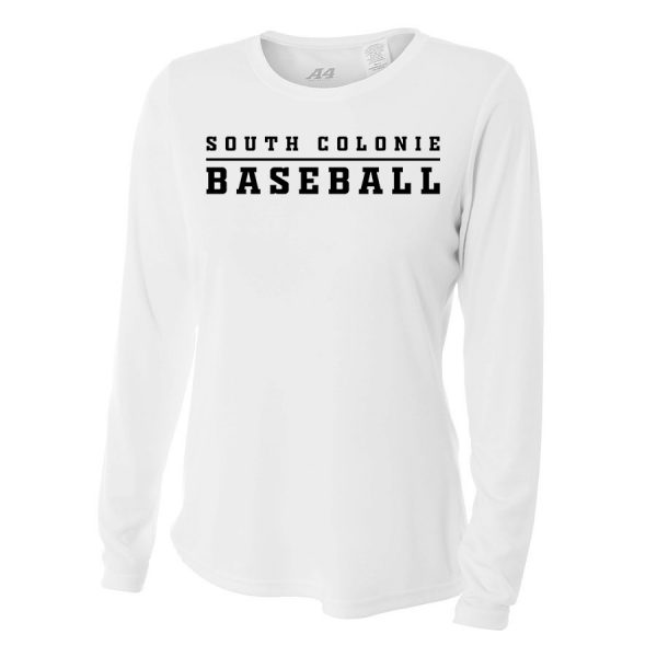 White South Colonie Baseball Ladies Long Sleeve Performance Cooling Tee