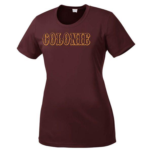 Colonie AllStars Women's Short Sleeve DriFit Shirt Maroon