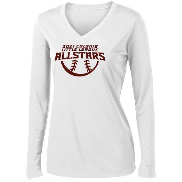 2021 AllStars Women's Long Sleeve V-Neck Shirt White