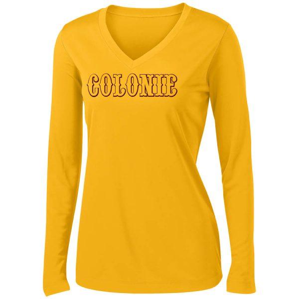 Colonie AllStars Women's Long Sleeve V-Neck Shirt Gold