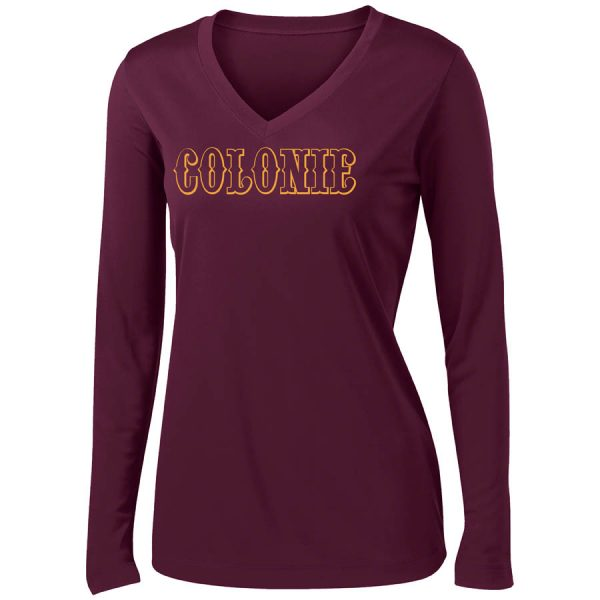 Colonie AllStars Women's Long Sleeve V-Neck Shirt Maroon