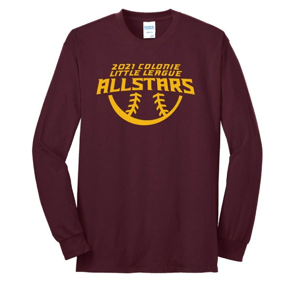2021 AllStars Long Sleeve 50/50 Blend Shirt Maroon